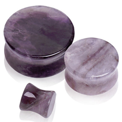 Natural Amethyst Semi-Precious Stone Saddle Plug-WildKlass Jewelry