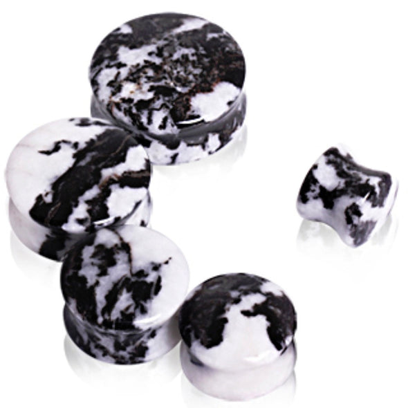 Natural Zebra Stone Saddle Plug-WildKlass Jewelry