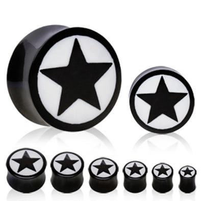 Buffalo Horn Solid Plug with Star Design-WildKlass Jewelry