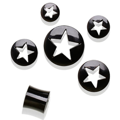 Buffalo Horn Flesh Tunnel Ear Plug with Star Shape Cut Out-WildKlass Jewelry