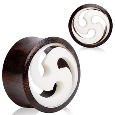 Organic Sono Wood Flesh Tunnel Plug with White Shuriken Design-WildKlass Jewelry