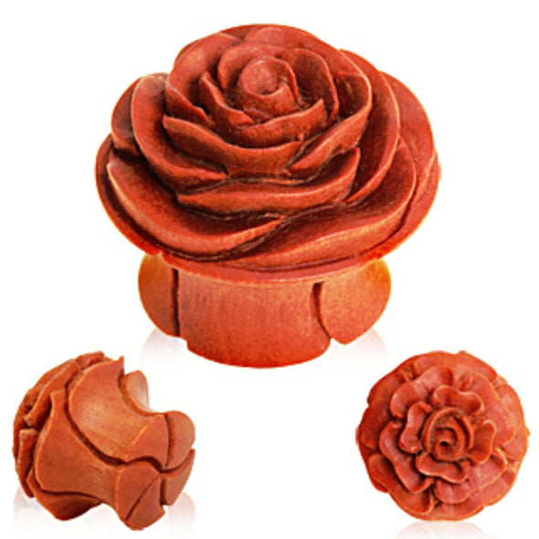 Organic Sawo Wood Rose Blossom Saddle Plug-WildKlass Jewelry