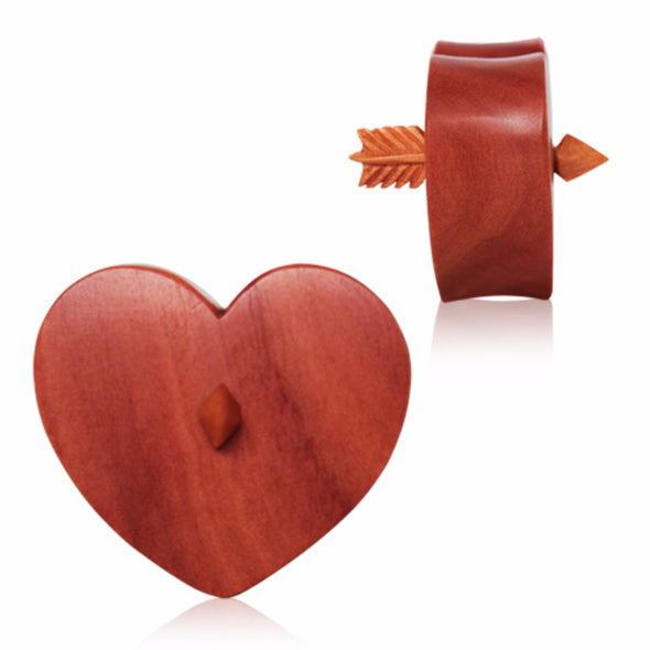 Organic Sawo Wood Arrowed Heart Saddle Plug-WildKlass Jewelry
