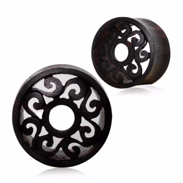Organic Sono Wood Tribal Motif Cut Out Tunnel Plug-WildKlass Jewelry
