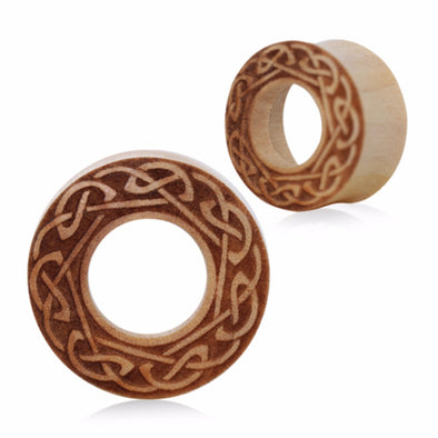 Organic Crocodile Wood Celtic Design Engraved Tunnel Plug-WildKlass Jewelry