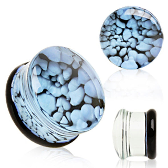 Blue Pebble Glass Saddle Plug-WildKlass Jewelry