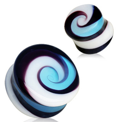 Swirl Glass Saddle Plug-WildKlass Jewelry