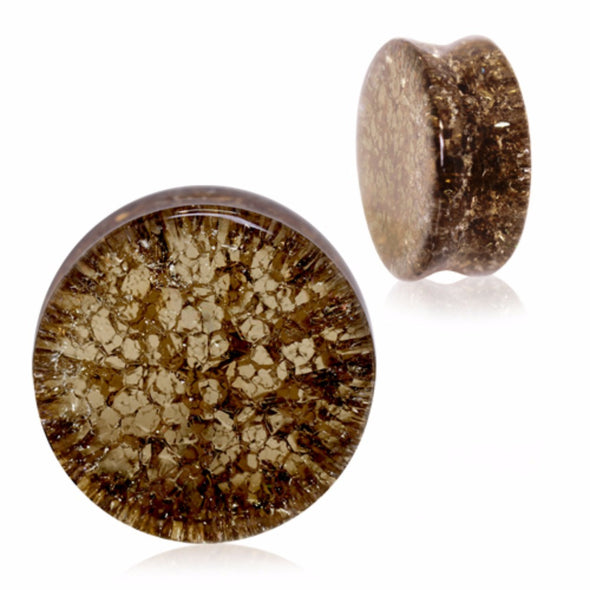 Golden Black Smooth Shattered Glass Saddle Plug-WildKlass Jewelry