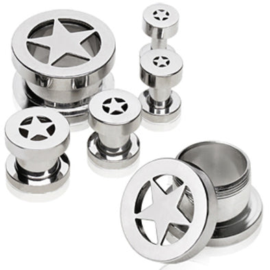 316L Surgical Steel Tunnel Plug with Star-WildKlass Jewelry