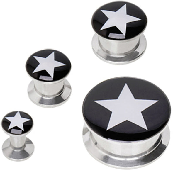 316L Surgical Steel Screw Fit Solid Plug with Star Logo-WildKlass Jewelry