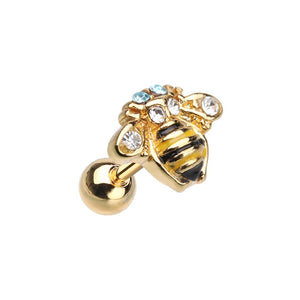 WILDKLASS Golden Queen Bee Cartilage Tragus Earring-WildKlass Jewelry