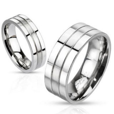 2 Grooved/Brushed Center rings 316L Stainless Steel-WildKlass Jewelry