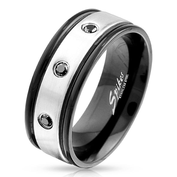 3 Black CZ Steel Center with Black IP Edge Stainless Steel Ring-WildKlass Jewelry