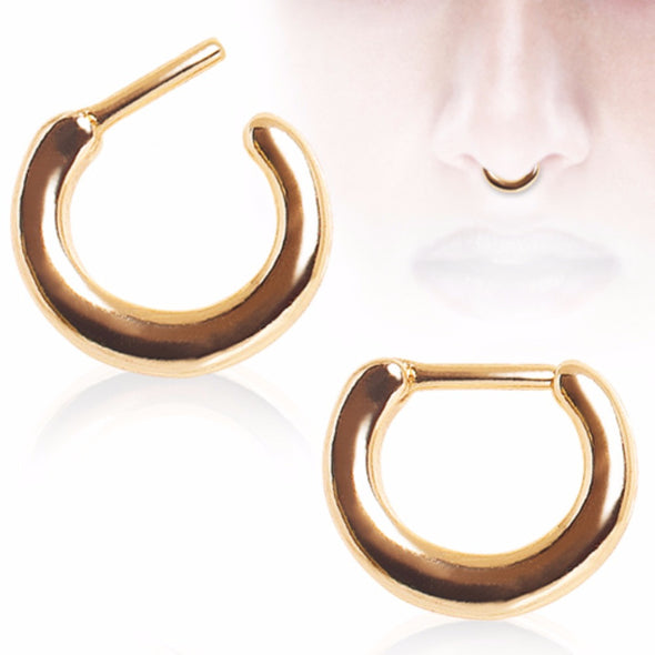 Gold Plated Smooth Basic Septum Clicker-WildKlass Jewelry