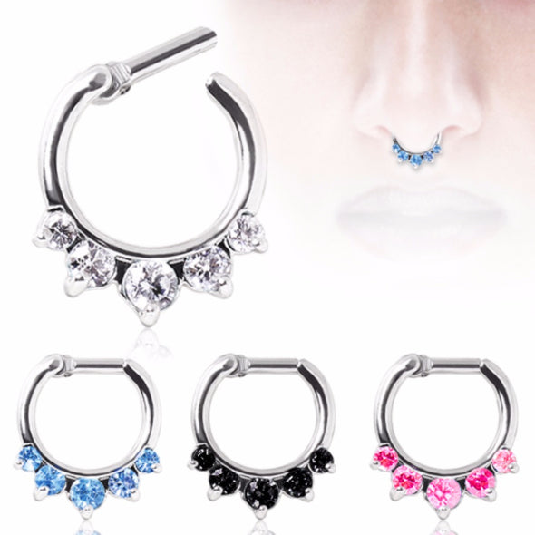 316L Surgical Steel Gemmed Princess Septum Clicker-WildKlass Jewelry