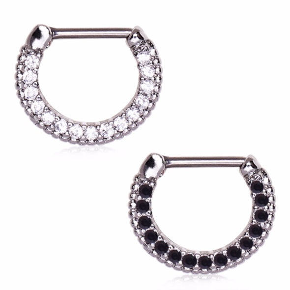 316L Surgical Steel Sparkly Gemmed Septum Clicker-WildKlass Jewelry