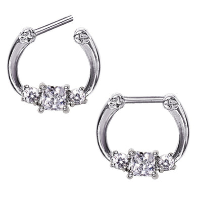 316L Surgical Steel Triple Square CZ Septum Clicker-WildKlass Jewelry