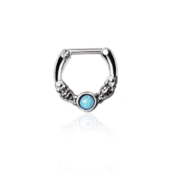 316L Surgical Steel Synthetic Opal Vintage Septum Clicker-WildKlass Jewelry