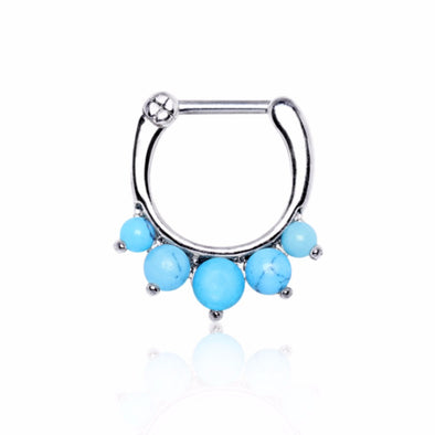 316L Surgical Steel Princess Septum Clicker with Turquoise-WildKlass Jewelry