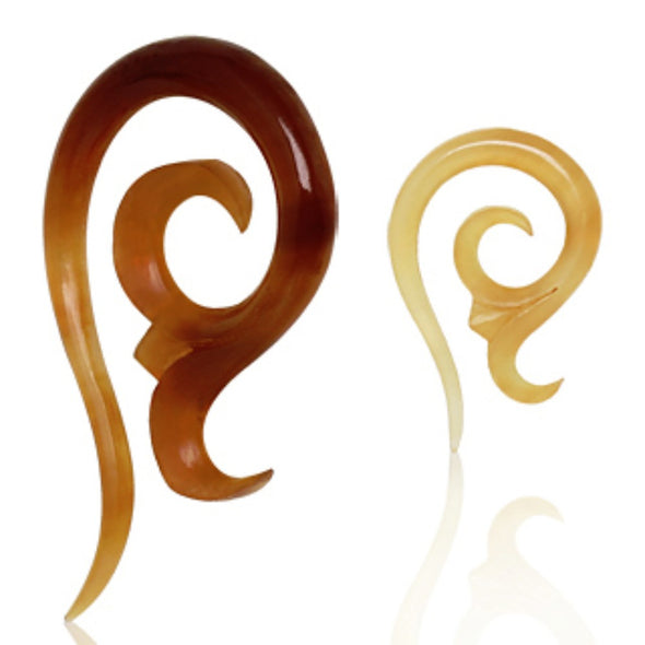 Spiral Shaped Buffalo Golden Horn Taper with a Flower Blossom-WildKlass Jewelry