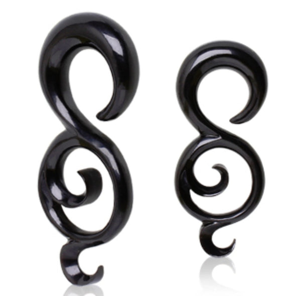 "Black Buffalo Horn Taper with Tailed ""8"" Shape-WildKlass Jewelry"