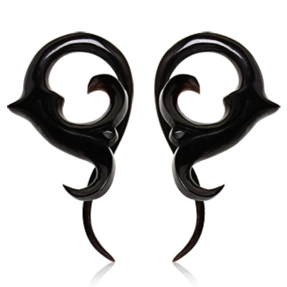 Pair of Buffalo Horn Twisted Taper with Sprouting Floral Shape-WildKlass Jewelry