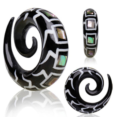 Organic Spiral Buffalo Horn Taper with Abalone & Bone Inlay-WildKlass Jewelry