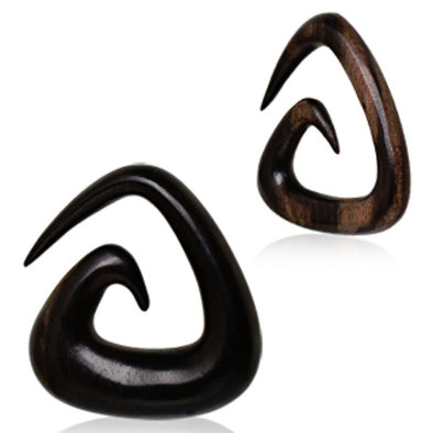 Organic Sono Wood Triangle Shaped Spiral Taper-WildKlass Jewelry