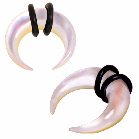 Organic Mother of Pearl Pincher Taper with O-Rings-WildKlass Jewelry