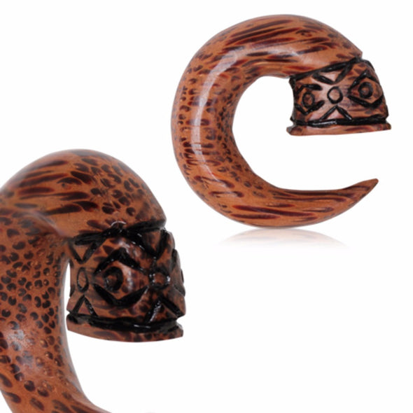 Organic Coconut Wood Tribal Design Spiral Taper-WildKlass Jewelry
