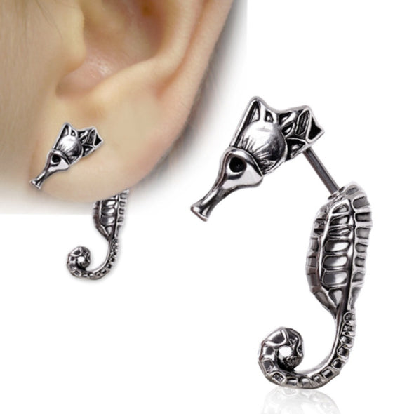 316L Surgical Steel Seahorse Fake Taper-WildKlass Jewelry