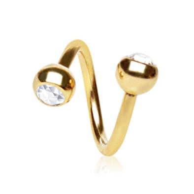 Gold Plated Over 316L Surgical Twist with Gemmed Ball-WildKlass Jewelry