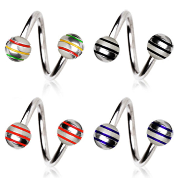 316L Surgical Steel Twist with Three Striped Balls-WildKlass Jewelry