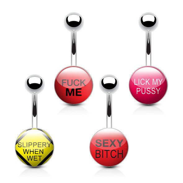 4 Pieces of Value Pack Naughty Words 316L Surgical Steel WildKlass Belly Button Rings-WildKlass Jewelry