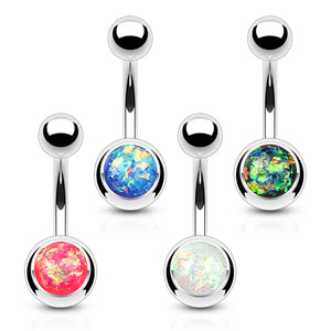 4 Pieces of Value Pack Opal Glitter Set 316L Surgical Steel WildKlass Belly Button Rings-WildKlass Jewelry