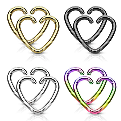 Value Packs 4 Pairs Plated Heart Cut Rings 316L Surgical Steel WildKlass for Cartilage/Tragus/Daith and More-WildKlass Jewelry
