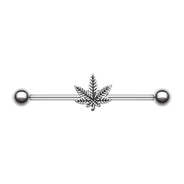 Green Colorline & Silver Pot Leaf Industrial Barbell-WildKlass Jewelry