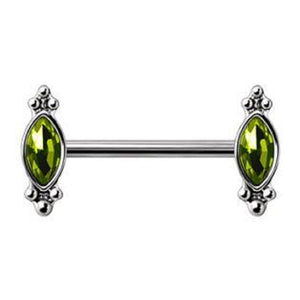 WILDKLASS 316L Stainless Steel Green Ornate Nipple Bar-WildKlass Jewelry