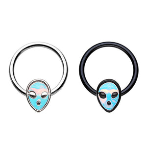 Black & Silver Alien Revo Head Steel Captive Bead Ring-WildKlass Jewelry