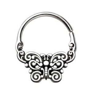 WILDKLASS 316L Stainless Steel Ornate Butterfly Seamless Ring/Septum Ring-WildKlass Jewelry