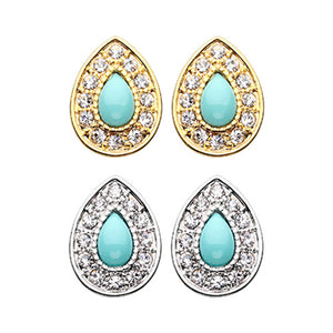 Gold, Silver CZ Dangle Avice Turquoise Multi-Gem Ear Stud Earrings-WildKlass Jewelry
