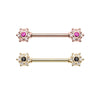 Gold, Rose Gold Twinkle Starburst CZ Ornate Nipple Barbell Ring-WildKlass Jewelry