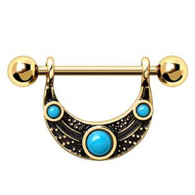 WILDKLASS Gold Plated Turquoise Shield Nipple Ring-WildKlass Jewelry