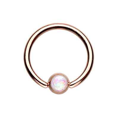 Colorline & Silver & Golden & Rose Gold Synthetic Opal Ball Steel Captive Bead Ring-WildKlass Jewelry