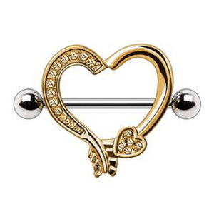 WildKlass Gold Plated Arrow Heart Nipple Shield-WildKlass Jewelry