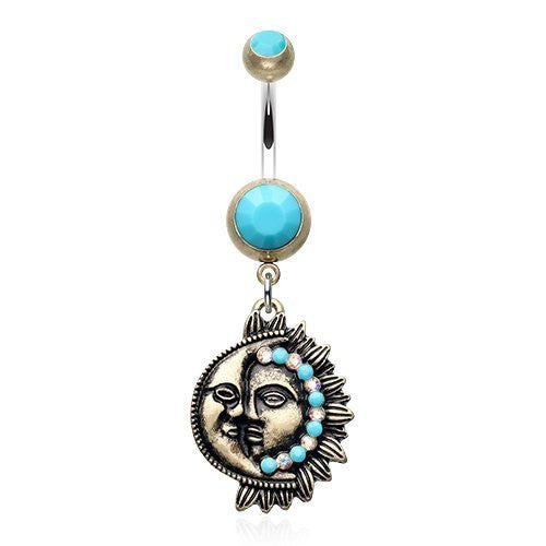 Vintage Sun Moon Belly Button Ring 316l Surgical Steel