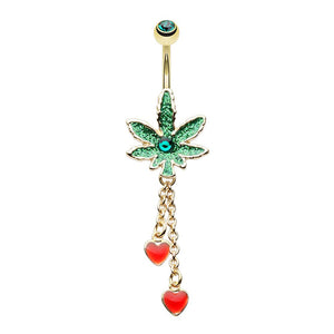 WILDKLASS Royal Highness Cannabis Pot Leaf Dangle Belly Button Ring-WildKlass Jewelry