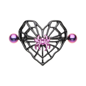 WILDKLASS Black Spiderweb Heart Nipple Shield Ring-WildKlass Jewelry
