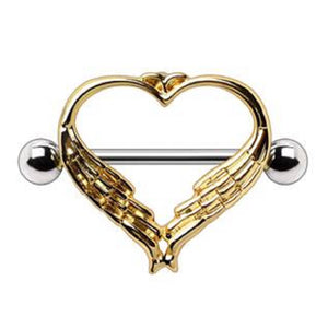 WildKlass Gold Plated Winged Heart Nipple Shield-WildKlass Jewelry