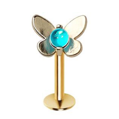 WildKlass Gold Plated Teal Blue Butterfly Labret-WildKlass Jewelry